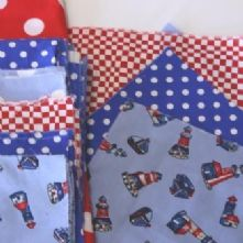 Beginner's 4x4 Square Red and Blue Nautical Patchwork Quilt Kit